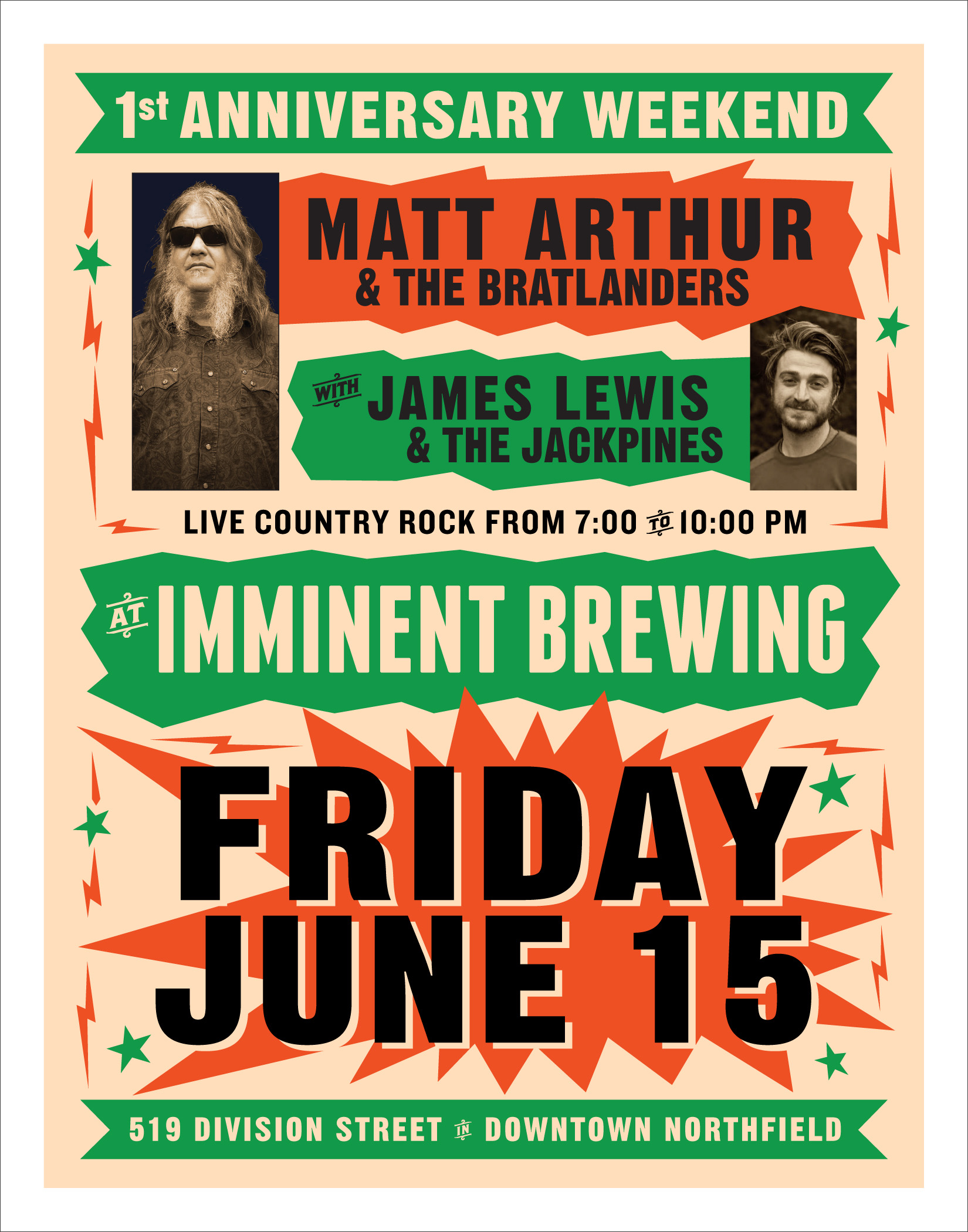 Bratlanders + Jackpines at Imminent Brewing, Friday June 15