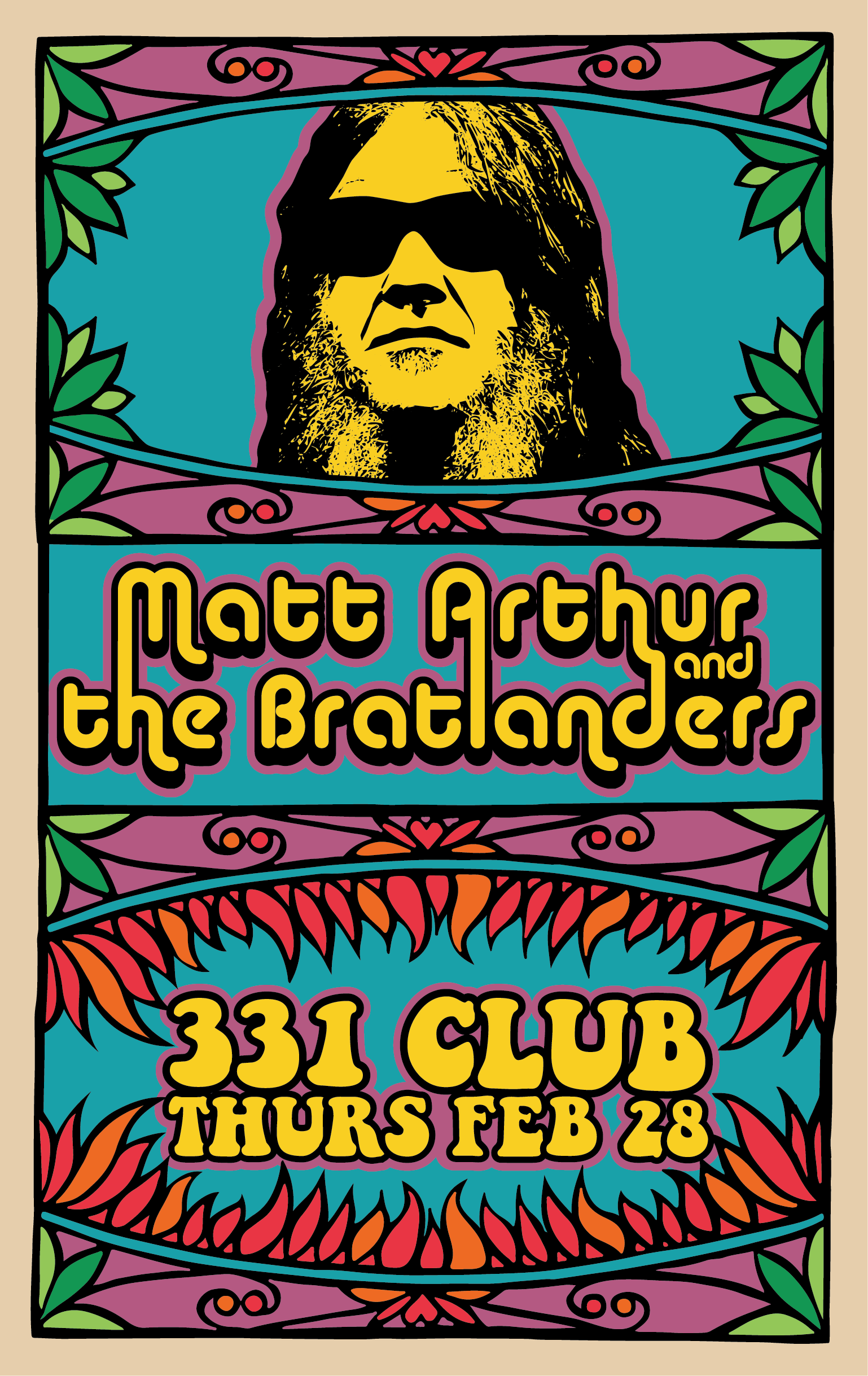 Psychedelic poster promoting Bratlanders at the 331 Club, Thurs. Feb. 28